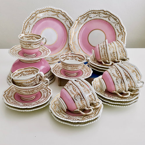 Flight Barr & Barr tea and coffee set, pink gadrooned, 1815-1820