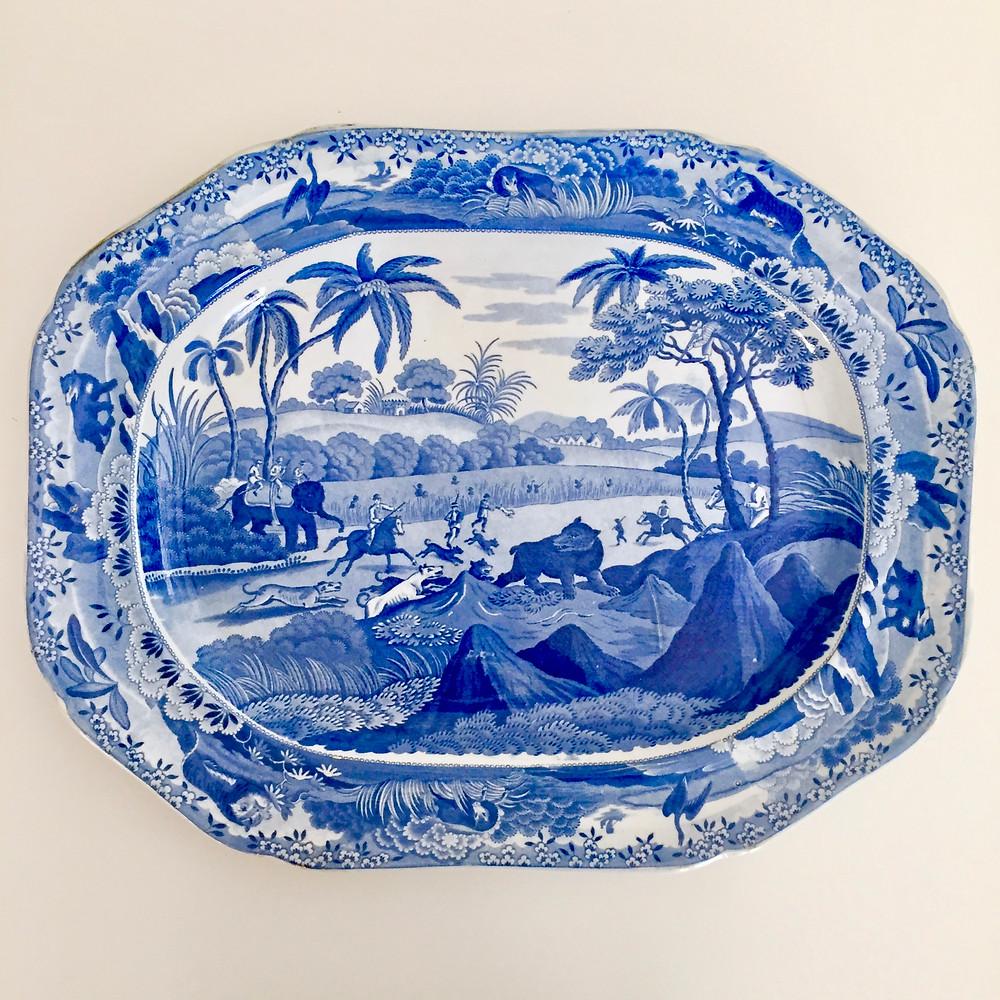 Staffordshire meat platter, Spode imitation ca 1820