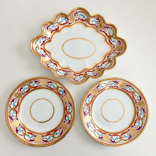 Two plates and a serving dish, Crown Derby 1800-1810