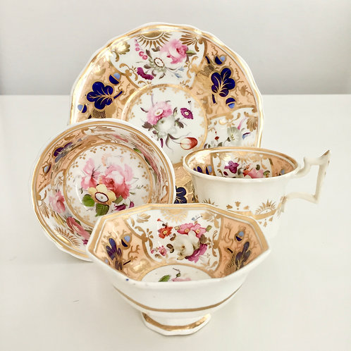 "Tea/coffee trio and bowl, stunning flowers, attr. ""189 Factory"" ca 1825"