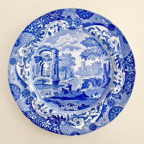 """Spode pearlware plate, """"Italian"""" blue & white transfer 1816-1833"""