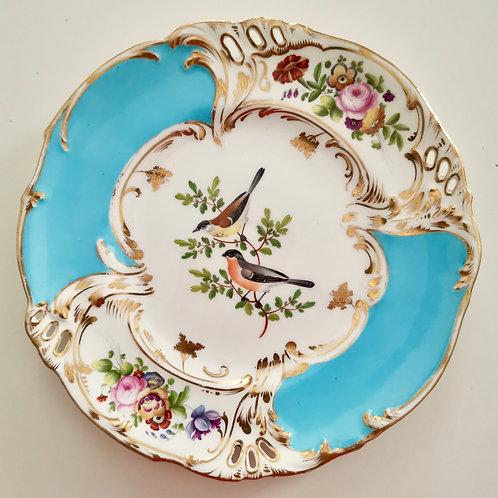Coalport dessert plate, pierced rim and hand painted birds, ca 1835