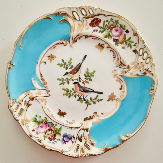 Coalport plate with birds, ca 1835
