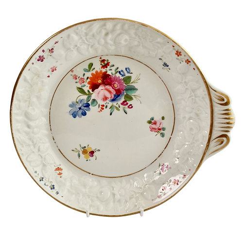 Coalport blind moulded dish, white with flowers, ca 1810