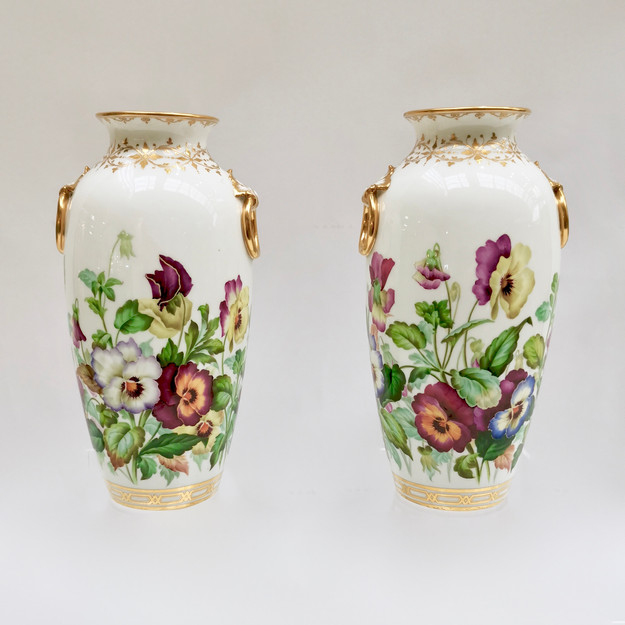 Minton vases with pansies painted by Jesse Smith, 1853