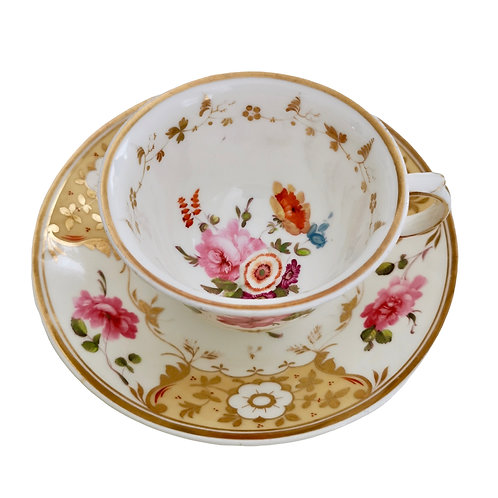 Yates cup and saucer, yellow with roses, ca 1825