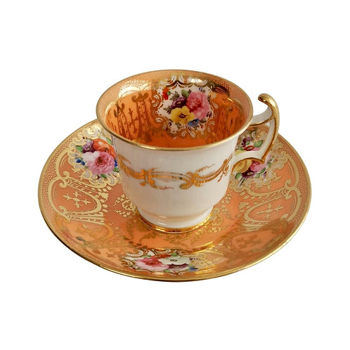 Coalport coffee cup, orange with gilt and flowers, ca 1815