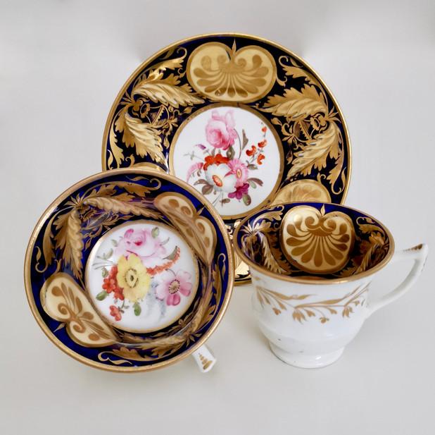 """Staffordshire trio superb """"v"""" decoration, ca 1820"""