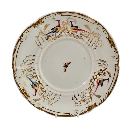 Davenport tureen stand or plate, white with Sèvres birds, 1830-1837