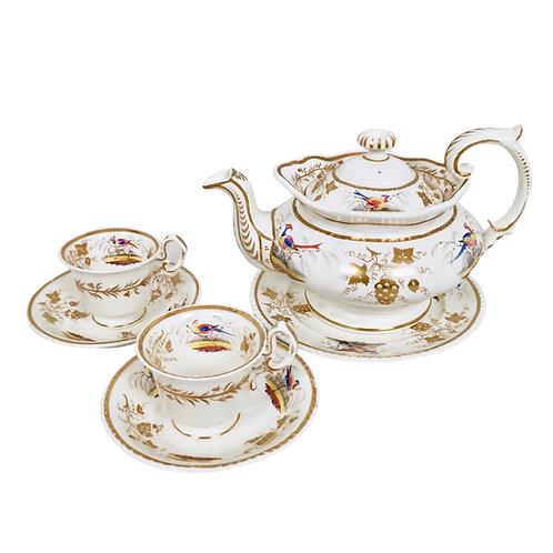 Grainger Worcester tea set, Rococo Revival with birds, ca 1830