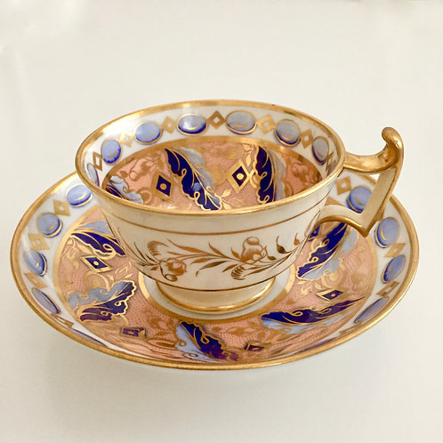 Ridgway teacup, peach, gilt and periwinkle, ca 1815