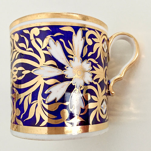 Spode orphaned coffee can, gilt and white flowers on blue, ca 1815