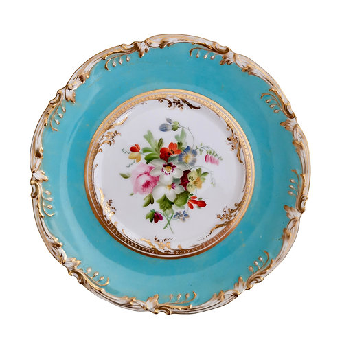 Coalport stand, sky blue with flowers by Thomas Dixon, 1845-1850