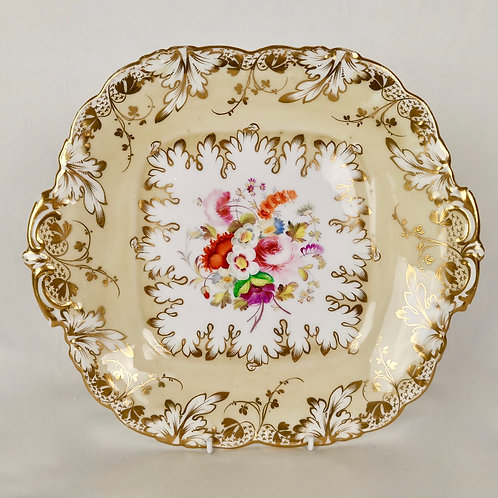 Coalport cake plate, Adelaide shape with hand painted flowers 3/577, ca 1840