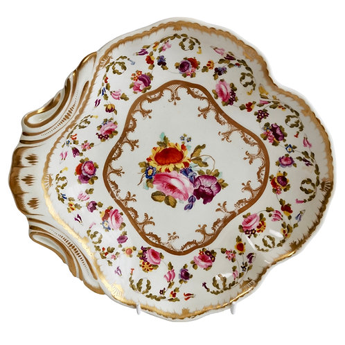 Bloor Derby shell dish, floral sprigs by Moses Webster, 1820-1825