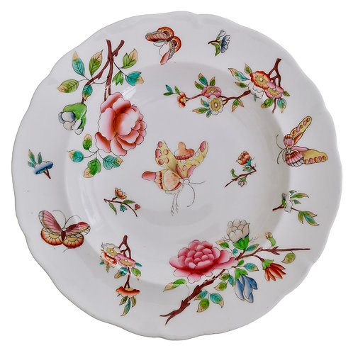 Soup plate, Chinoiserie flowers and butterflies, poss. Minton ca 1820
