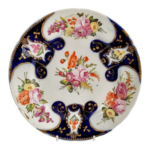 John Rose Coalport plate, cobalt blue and flowers, ca 1805