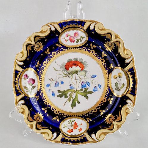 Ridgway dessert plate, moustache shape with sublime flowers, ca 1825 (5)