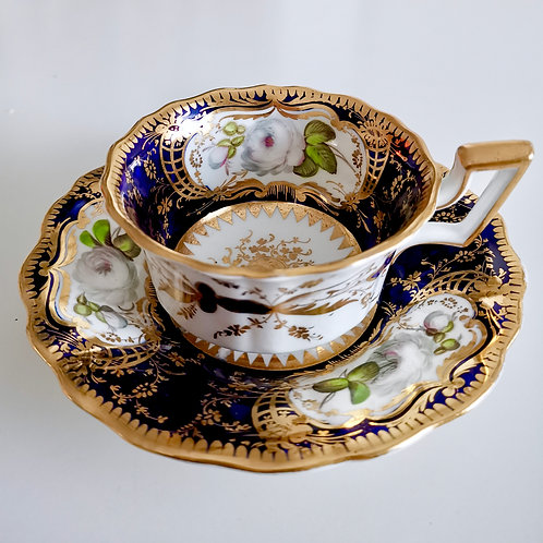 Coalport teacup and saucer, white roses on cobalt blue, ca 1825