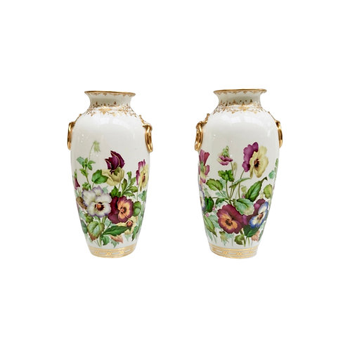 Minton pair of vases, pansies by Jesse Smith, 1853