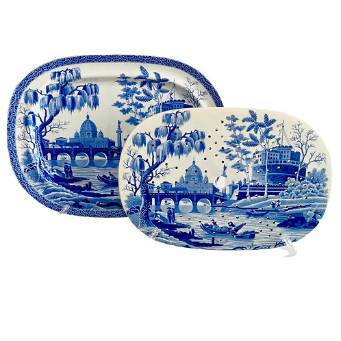 "Spode pearlware meat platter and drainer, ""Tiber"" pattern, 1811-1833"