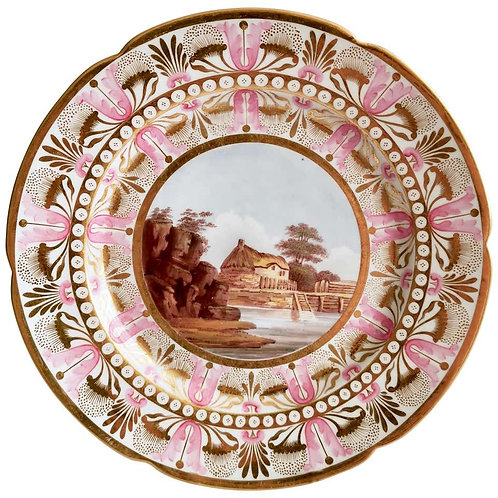 Flight Barr & Barr plate with river landscape, 1813-1825