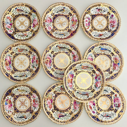 Set of 10 dinner plates, hand painted birds, Coalport 1820-1825