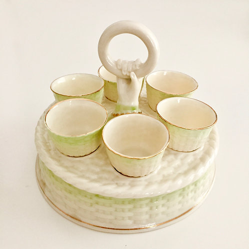 Egg holder with six cups, Belleek 3rd Green Mark