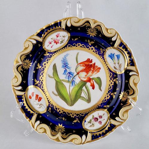Ridgway dessert plate, moustache shape with sublime flowers, ca 1825 (7)