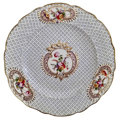 Coalport plate, moulded surface and flowers, Regency ca 1820