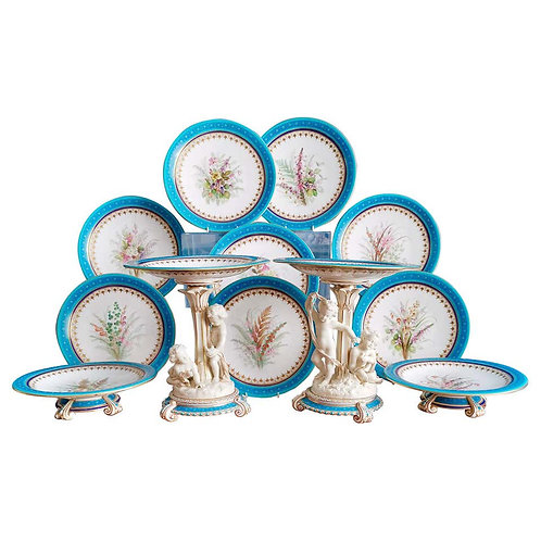 Royal Worcester dessert service with parian cherubs, 1910