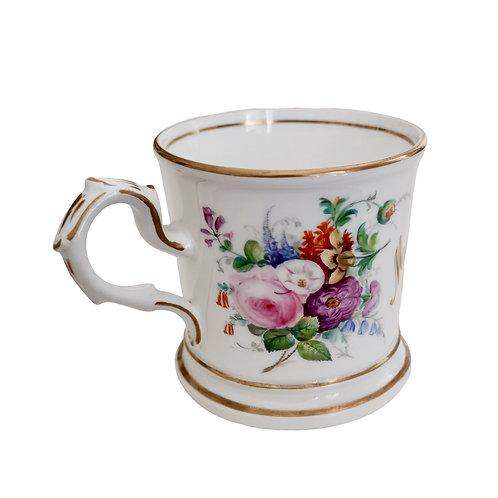Staffordshire christening mug, white with flowers, 1867