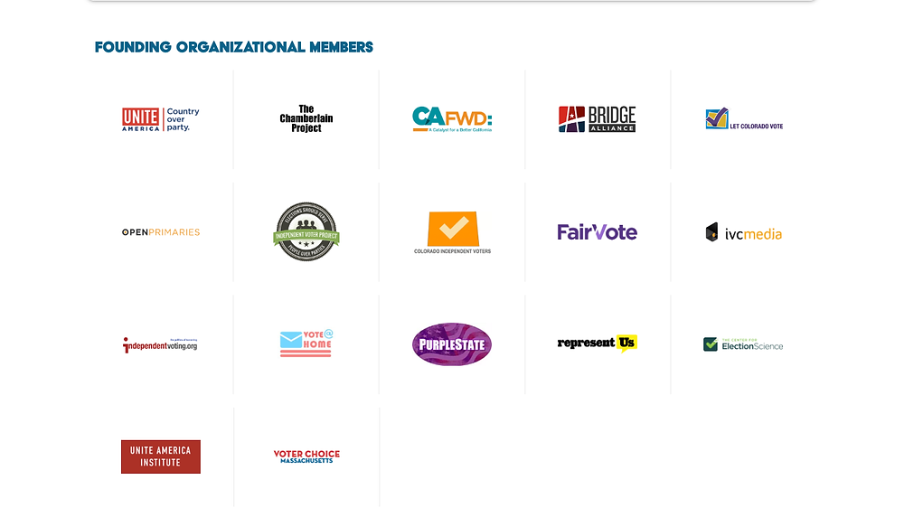 These are Founding Organizational Members of the National Association of Nonpartisan Reformers, including Unite America, Open Primaries, FairVote & PurpleState
