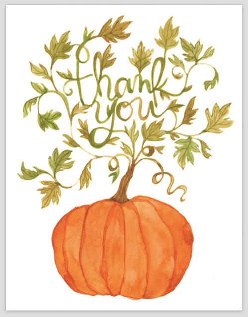 Thank You Pumpkin Thanksgiving Greeting Card