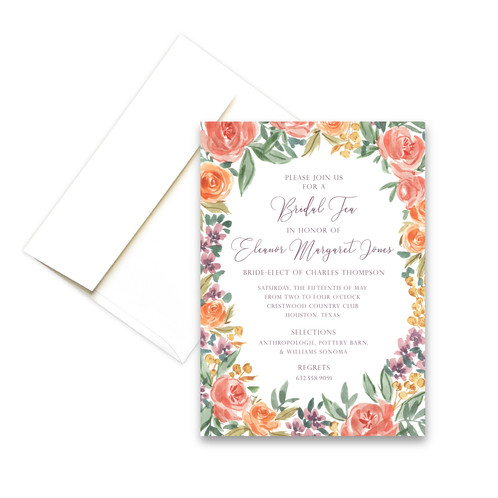 Garden party personalized invitation golden pine watercolor garden party flowers personalized invitation stopboris Image collections