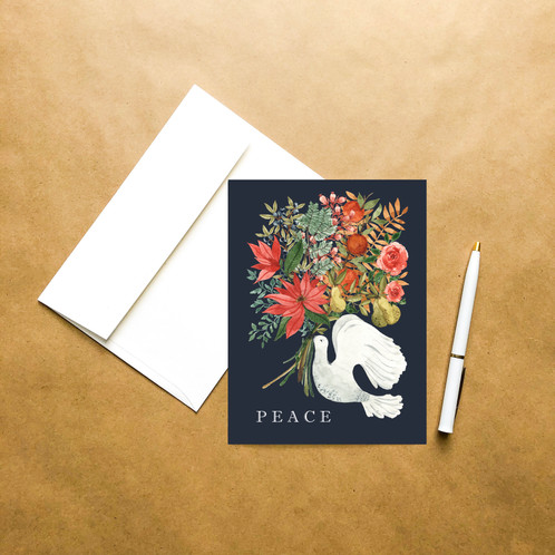 Peace christmas greeting card golden pine designs this will just take a little longer to fulfill feel free to send us an email if we can answer any questions watercolor christmas illustrations m4hsunfo Choice Image