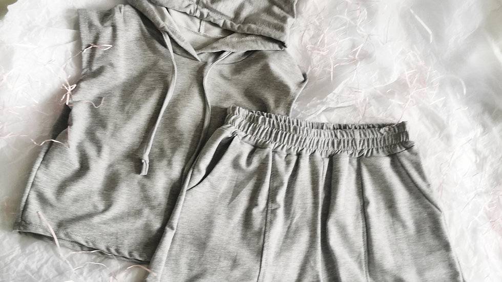 Grey Hooded EMILY Co-ord