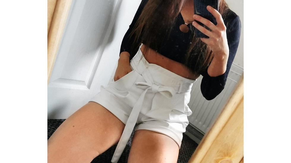 White Leatherette MOLLY Shorts