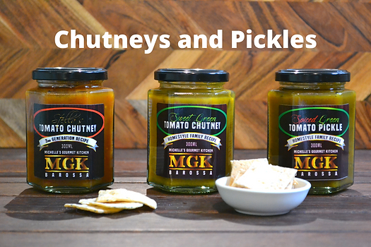 MGK's Stella's Tomato, Sweet Green Tomato Chutney and Spiced Green Tomato Pickle with water crackers