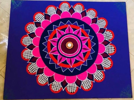 Checkered Flower Rangoli