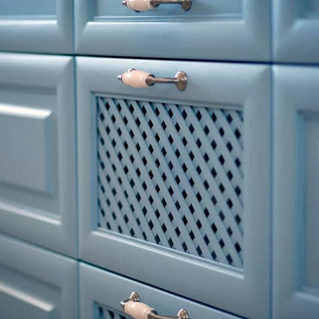 Love this light blue cabinet at my clien