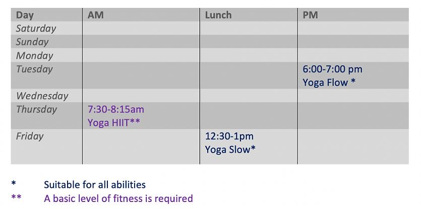 Live yoga classes online schedule
