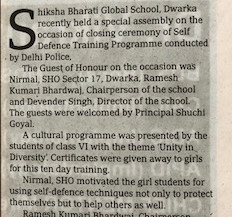 Self-defence Training : Shiksha Bharti Global School