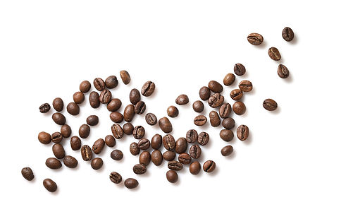 Group of coffee beans isolated on white