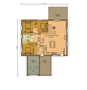 GINKGOBAT construit modèle Magnolia toit mixte, vue en plan