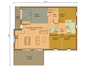 GINKGOBAT construit modèle Nerprun, vue en plan