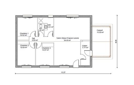 GINKGOBAT construit modèle Orme avec carport, vue en plan 86.47 m²