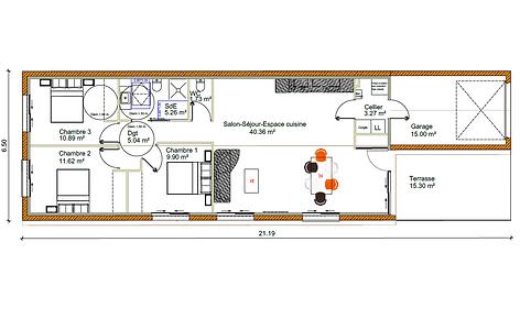 GINKGOBAT construit Sakura aux normes handicapées, vue en plan