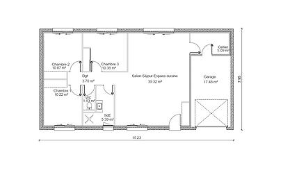 GINKGOBAT construit modèle Photinia, vue en plan 3 chambres 86.00 m²