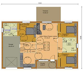 GINKGOBAT construit modèle Idésia, vue en plan